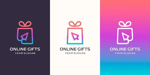 Kombination aus geschenk und cursorpfeil-logo. einzigartige überraschungs- und logodesign-vorlage