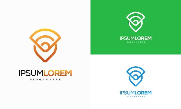 Kombination aus kartenzeiger und wlan-logo. gps-locator und signalsymbolvektor, signal point-logo