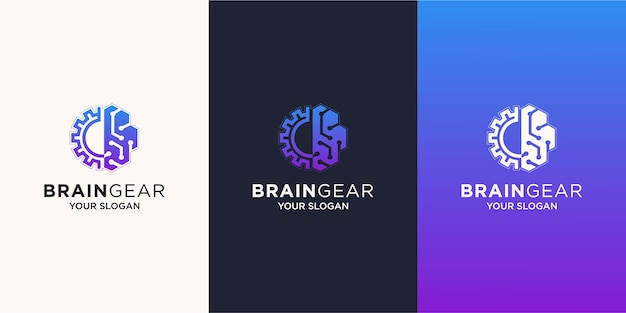 Kombination aus logo für gehirn- und getriebetechnologie