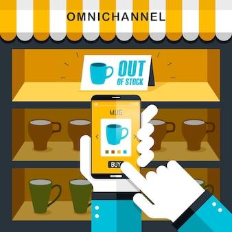 Kombination aus omni-channel-erfahrung in flachem design