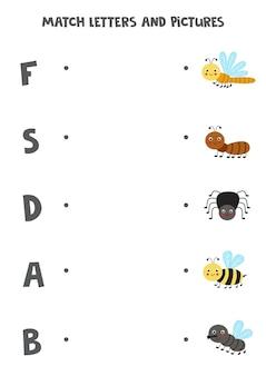 Kombiniere süße insekten und buchstaben. pädagogisches logisches spiel für kinder. wortschatz arbeitsblatt.