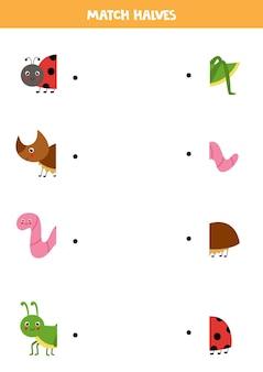 Kombiniere teile von niedlichen insekten. logisches spiel für kinder.