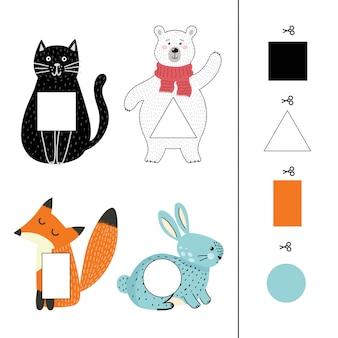 Kombiniere tiere mit farbenfrohen formen. formen und farben. passendes spiel für kleinkinder mit niedlichen tieren. aktivitätsseite für kinder beschäftigt tasche. illustration