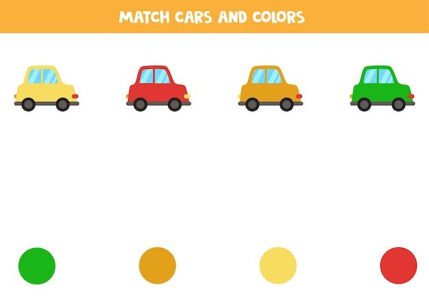 Kombinieren sie cartoon-autos und farben. pädagogisches matching-spiel für kinder.