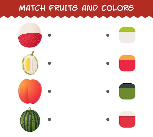 Kombinieren sie cartoon früchte und farben. matching-spiel.