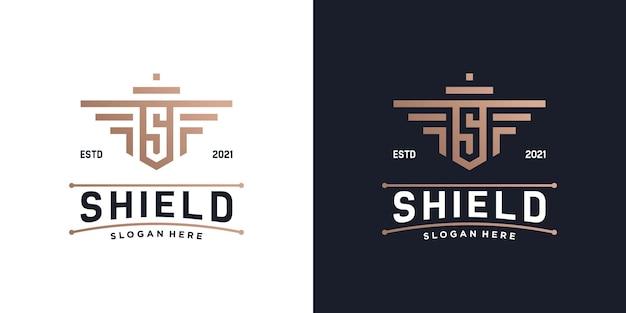Kombinieren sie das schild mit der logovorlage mit dem ersten s-monogramm. sicherheit, sicherheit und schutz des luxusabzeichenlogos.