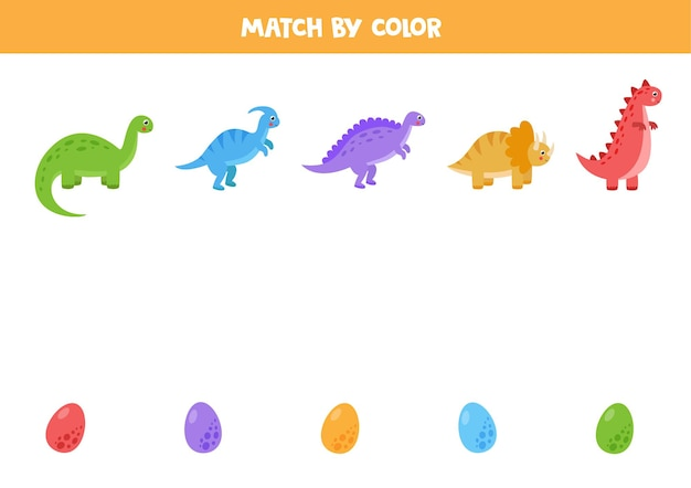 Kombinieren sie dinosaurier und ihre eier nach farbe. pädagogisches matching-spiel für kinder