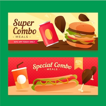 Kombinierte mahlzeiten fast-food-banner packen