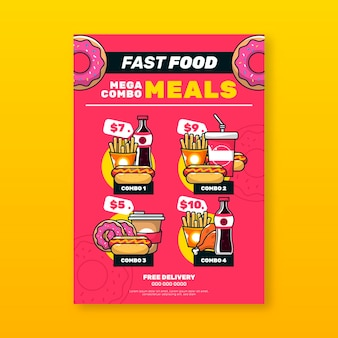 Kombinierte mahlzeiten fast-food-poster-vorlage