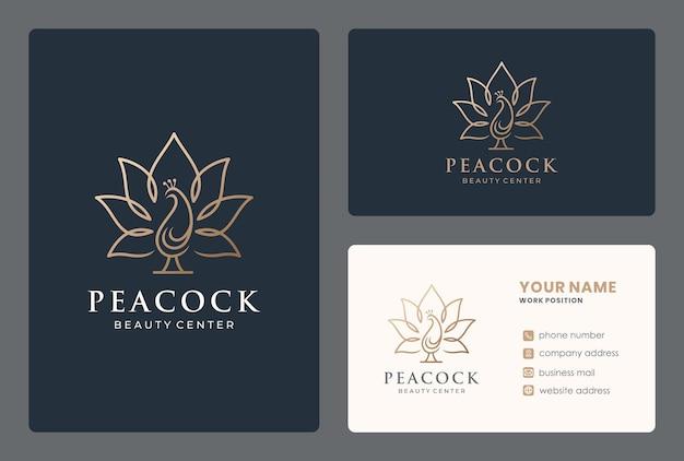 Kombinierte vogel-logo-design der lotusblume mit visitenkarte
