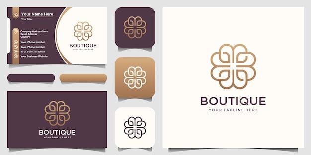 Kombinierter buchstabe b-logoentwurf der abstrakten blume