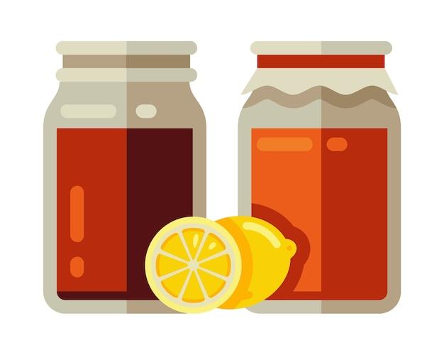 Kombucha im glas mit zitrone fermentiert Premium Vektoren