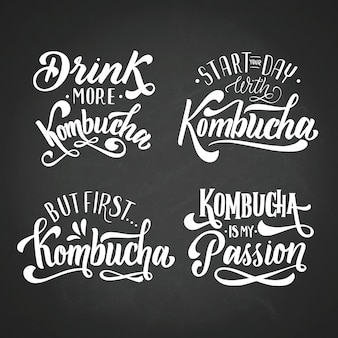 Kombucha tee schriftzug set