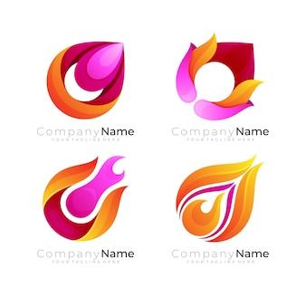 Komet-logo und feuer-design-kombination, rote farbe