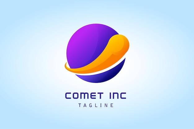 Komet mit kreisplaneten-gradientenlogo für unternehmen