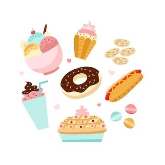 Komfort-food-konzept mit süßigkeiten