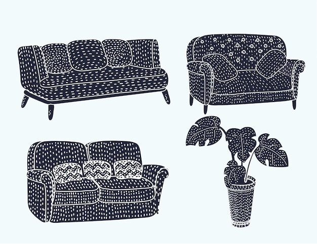 Komfortables schwarzes möbel-icon-set