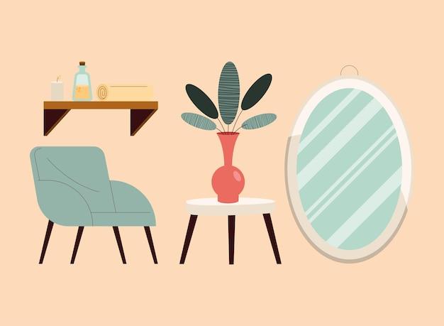 Komfortables und dekoratives objekt-icon-set für zuhause