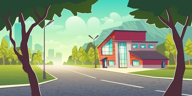 Komfortables wohnen an einem sauberen ort außerhalb der stadt cartoon