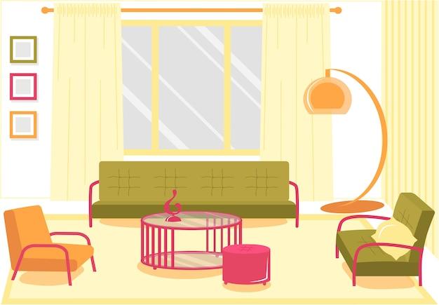 Komfortables wohnzimmer mit flachem banner, cartoon.