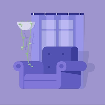 Komfortables wohnzimmer mit sessel fenstervorhang und blume
