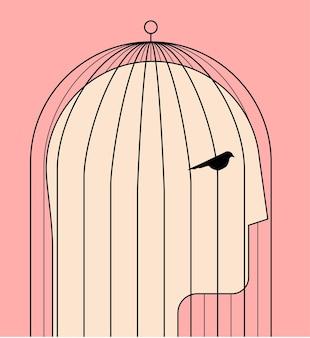 Komfortzone oder selbstbegrenzung oder psychologisches konzept des inneren gefängnisses