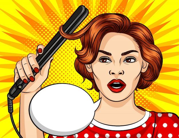 Komische artillustration der farbpop-art. schöne frau, die haarlockenwickler anhält.