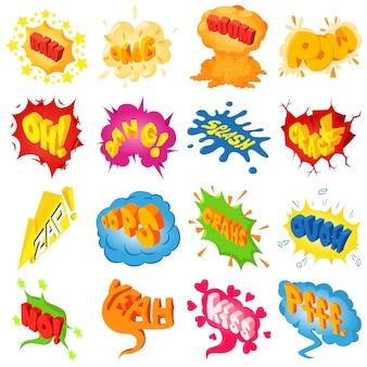Komische farbige klangikonen eingestellt. isometrische illustration von 25 komischen farbigen klangvektorikonen für netz