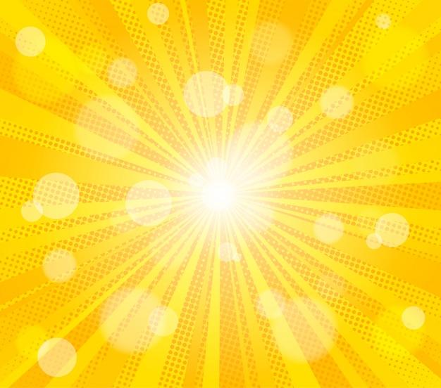 Komische gelbe sonne strahlt hintergrund aus
