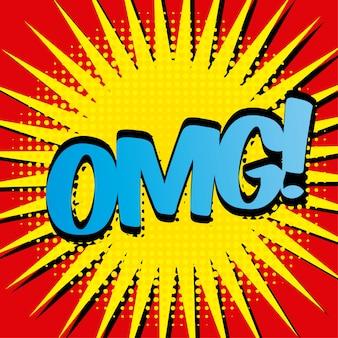 Komische ikone über roter hintergrundvektorillustration