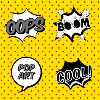 Komische ikonen über punktierter hintergrundvektorillustration