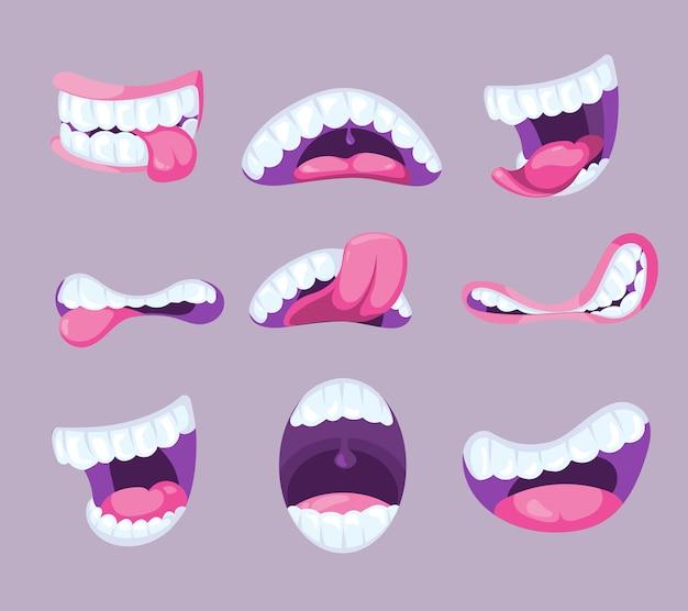 Komische mund des lustigen vektors, der verschiedene gefühle ausdrückt. spaß pharynx mit zahn und rosa zunge illu