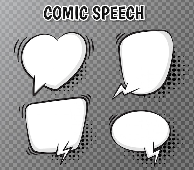 Komische rede sprudelt sammlung auf transparentem