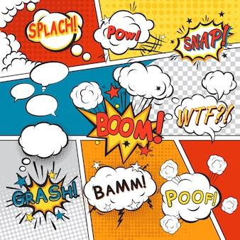 Komische spracheblasen in der pop-arten-art mit gesetzter vektorillustration des splach-powl-schnellboom-poof-textes