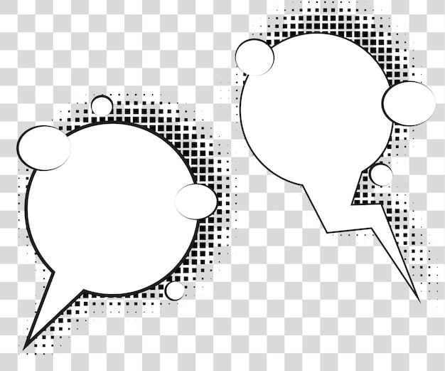 Komische sprechblasen mit halbtonschatten. vektorillustration env 10 lokalisiert auf hintergrund.