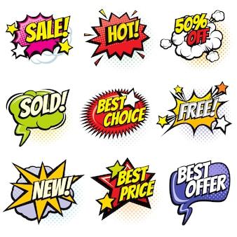 Komische sprechblasen mit promo-worten. rabatt-, verkaufs- und einkaufskarikaturfahnen-vektorsatz