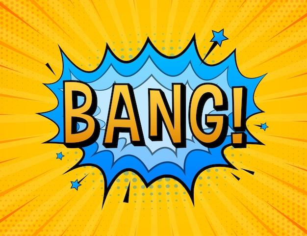 Komische sprechblasen mit text bang. vintage-cartoon-illustration. symbol, aufkleber, sonderangebotsetikett, werbeplakette. vektorgrafik auf lager