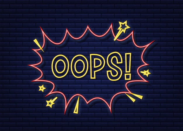 Komische sprechblasen mit text-ups. neon-symbol. symbol, aufkleber, sonderangebotsetikett, werbeplakette. vektorgrafik auf lager.