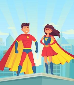 Komische superheldpaare, karikaturmann und -frau in den roten mänteln auf dach der stadt