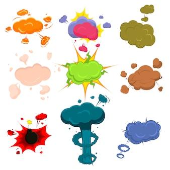 Komische vektorillustration der karikaturexplosionseffekt-bombe.