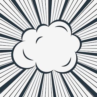 Komische wolke auf zoom-linien hintergrund