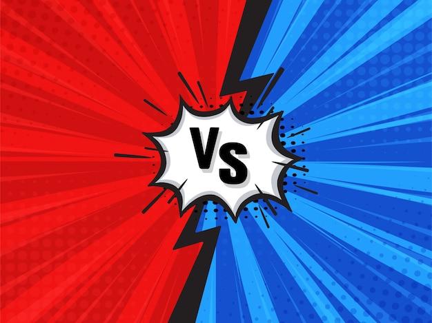 Komischer kämpfender karikatur-hintergrund. rot gegen blau.