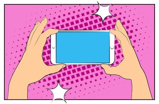 Komisches telefon mit halbtonschatten. hand, die smartphone hält. pop-art-retro-stil. flaches design. vektorillustration env 10.