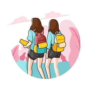 Komm zusammen von der schule nach hause