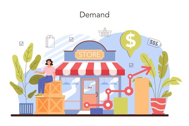 Kommerzielle aktivitäten. unternehmer, die die nachfrage nach waren verfolgen. marketingdaten für die geschäftsentwicklung. produktverpackung für den vertrieb. einzelhandelsprozess. flache vektorillustration