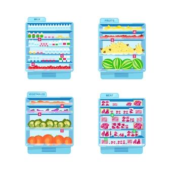 Kommerzielle kühlschränke mit flachen farbobjekten. obst- und gemüsekühlschränke. supermarkt zeigt isolierte karikaturillustration für webgrafikdesign und animationssammlung an