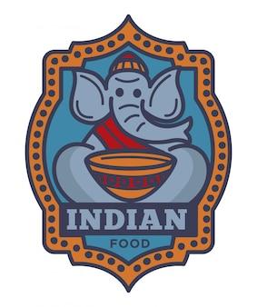 Kommerzielles firmenzeichen des indischen lebensmittels mit elefanten in der kleidung des buddhistischen mönchs