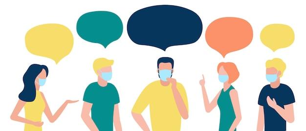 Kommunikation einer gruppe von menschen mit sprechblase in atemmaske