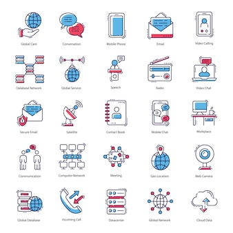 Kommunikation flache icons pack