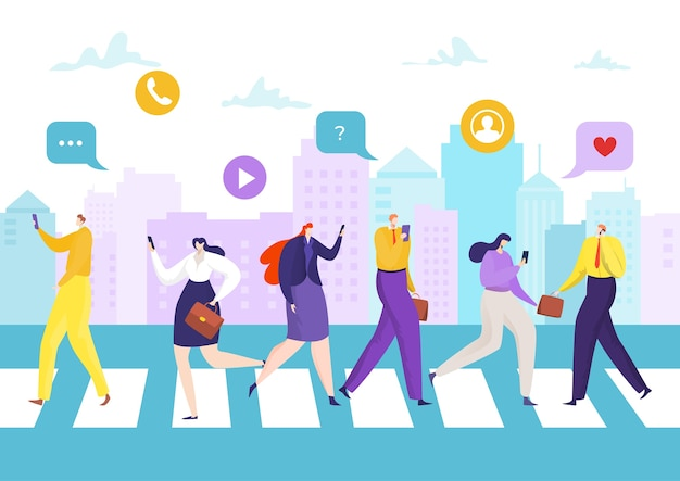 Kommunikation in der smartphone-technologie, menschen mit telefon unterwegs